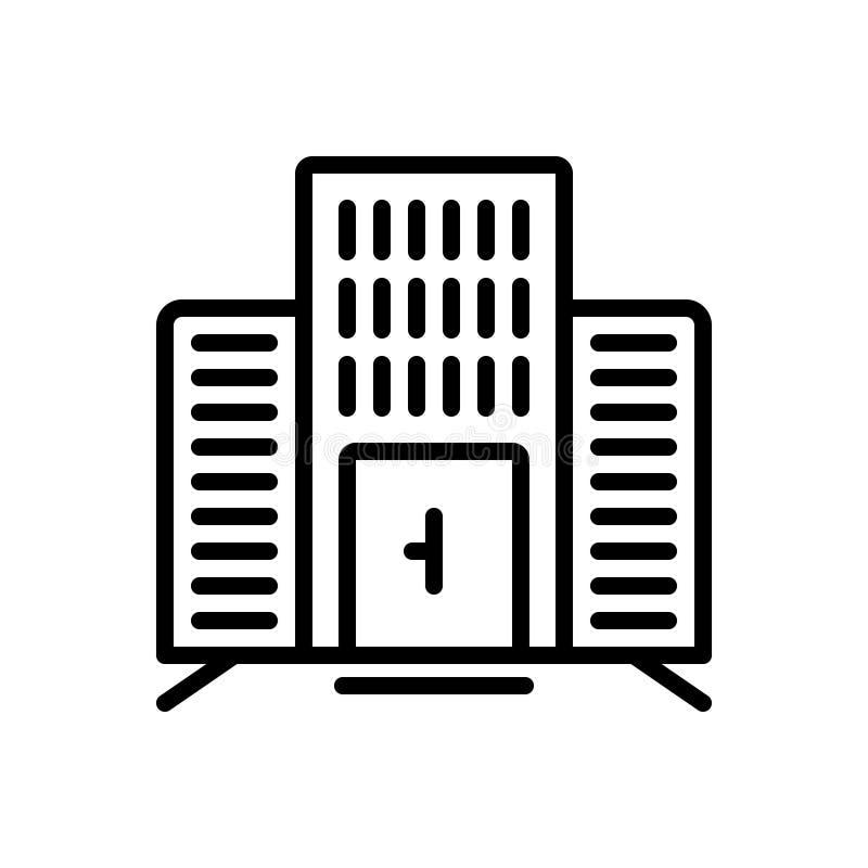 Czarna kreskowa ikona dla budynku biurowego, korporacyjny i biznesowy ilustracji