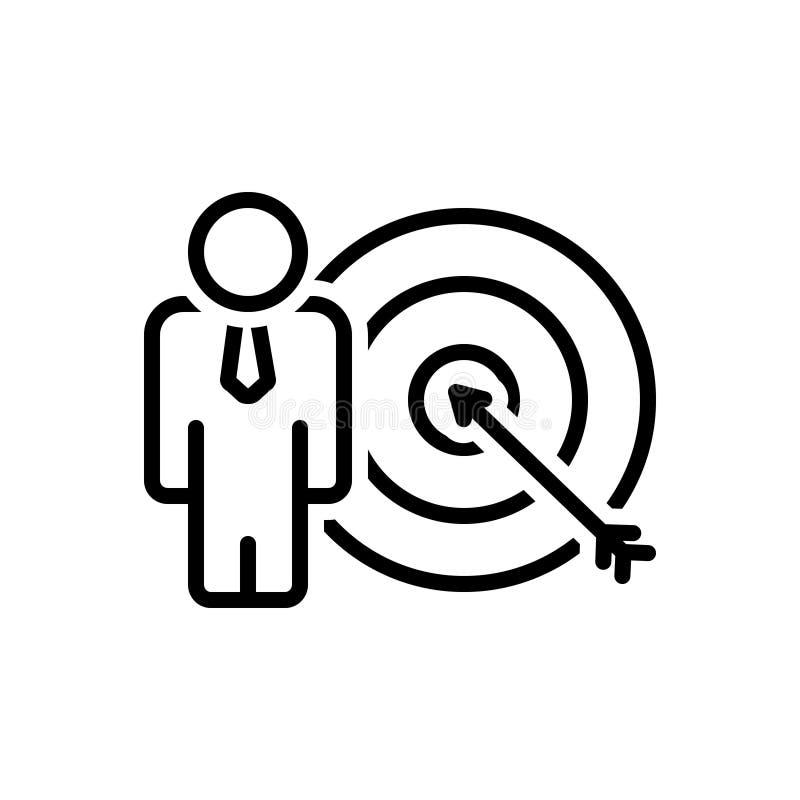 Czarna kreskowa ikona dla celów Dokonuje, cel i strzałka ilustracja wektor