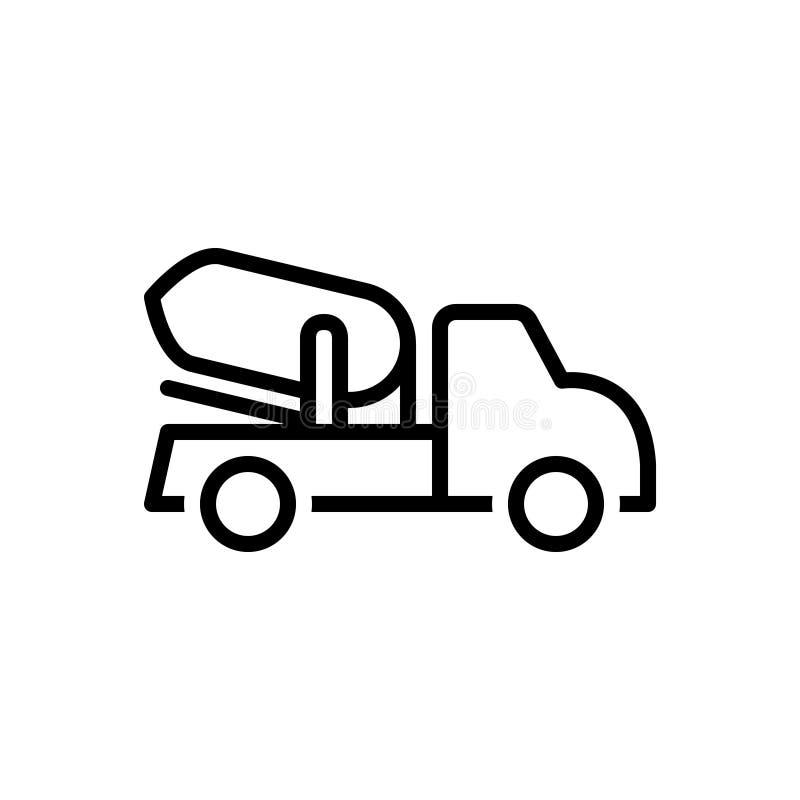 Czarna kreskowa ikona dla ciężarówki, budowy i maszyny cementu, ilustracji