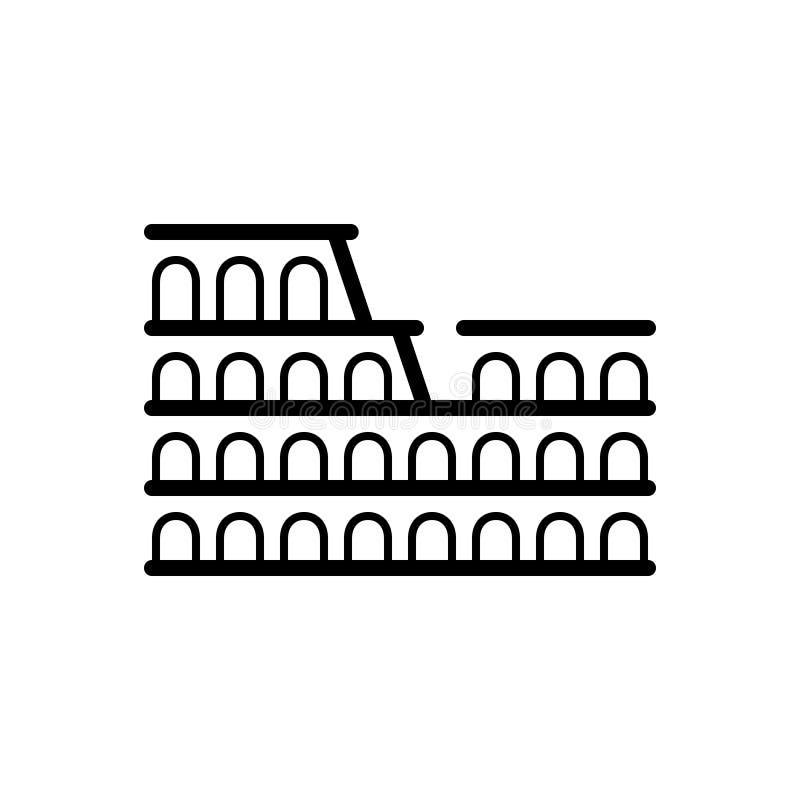 Czarna kreskowa ikona dla Colosseum Rome, teatr i cud, royalty ilustracja