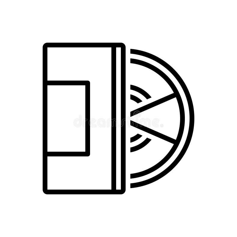 Czarna kreskowa ikona dla Compact Disc, układu i komputeru, ilustracji