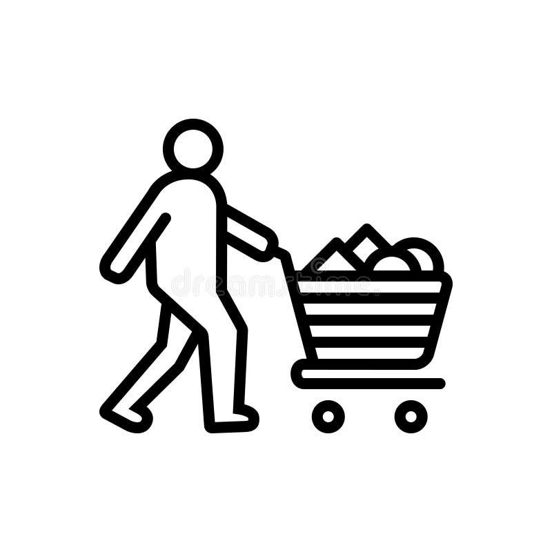 Czarna kreskowa ikona dla Consumable, nabycia i fury, ilustracji