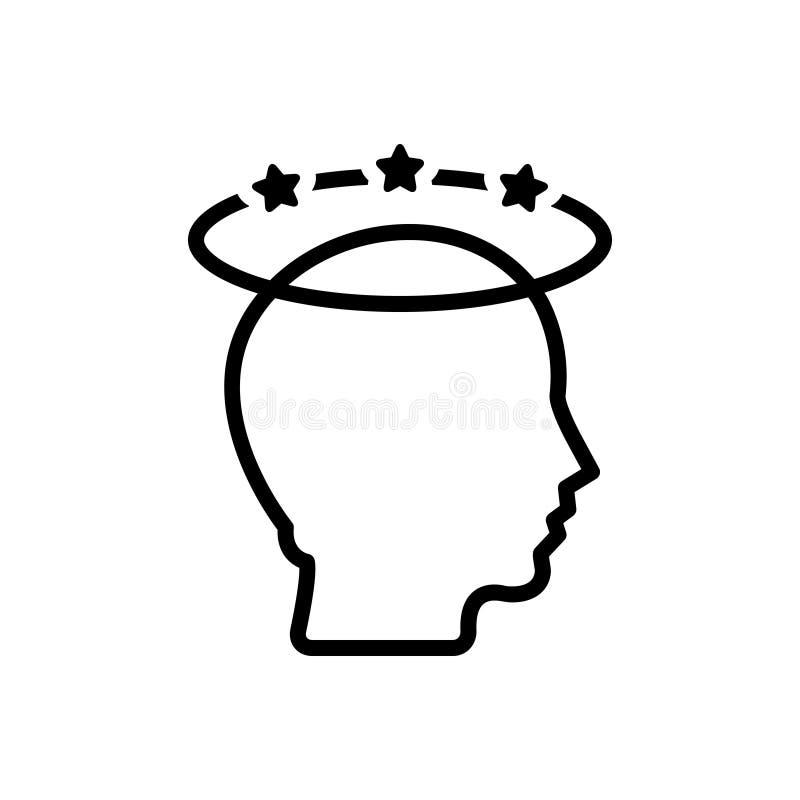 Czarna kreskowa ikona dla depresji, migreny i stresu, ilustracji