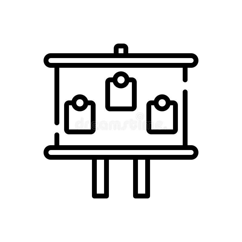 Czarna kreskowa ikona dla deski, facia i czerń, wsiadamy royalty ilustracja