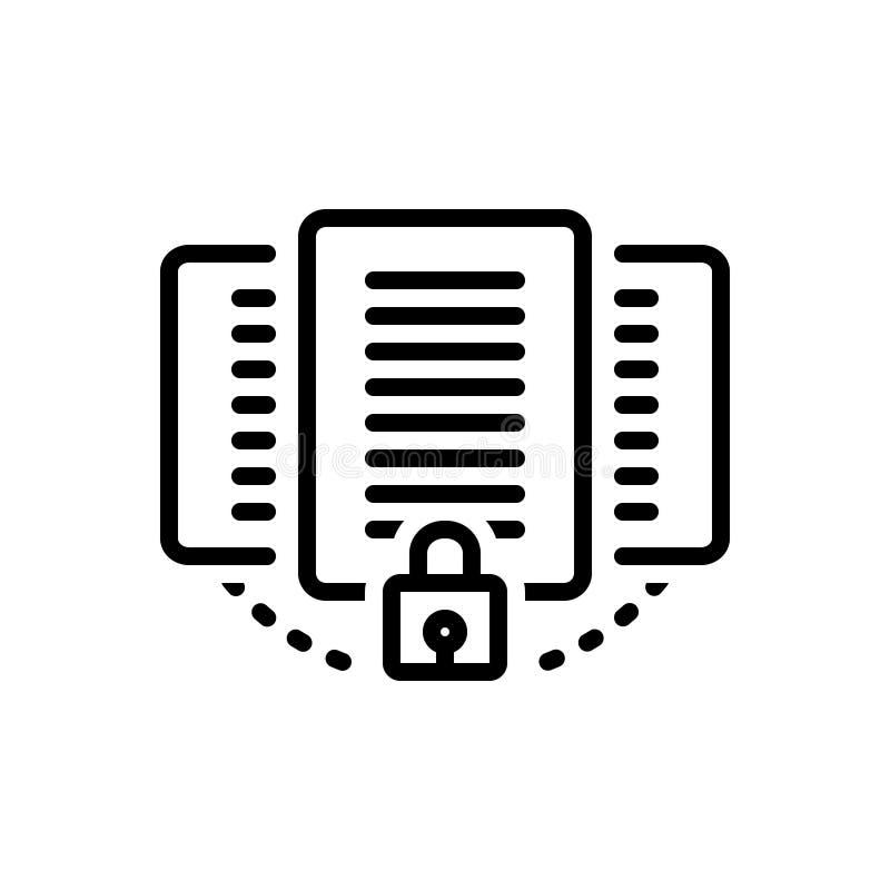 Czarna kreskowa ikona dla dokumentu, ochrony, ochrony i prywatności, ilustracja wektor