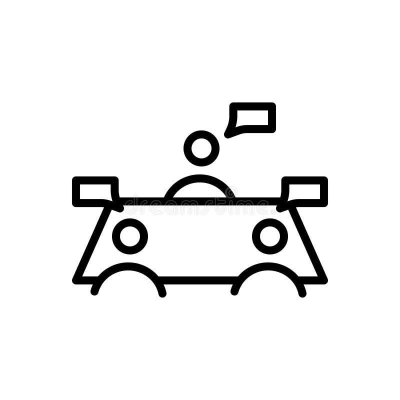 Czarna kreskowa ikona dla dyskusji, debaty i nieporozumienia, ilustracja wektor
