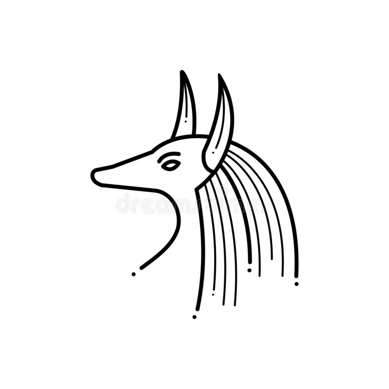 Czarna kreskowa ikona dla egipcjanina, Egypt i muzeum, royalty ilustracja