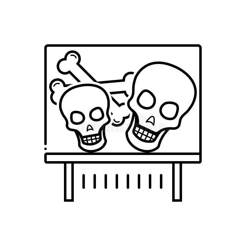 Czarna kreskowa ikona dla eksponata, czaszki i kosteczki kości, ilustracja wektor
