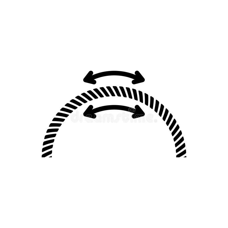 Czarna kreskowa ikona dla Elastycznego, adaptuje i skacze ilustracja wektor