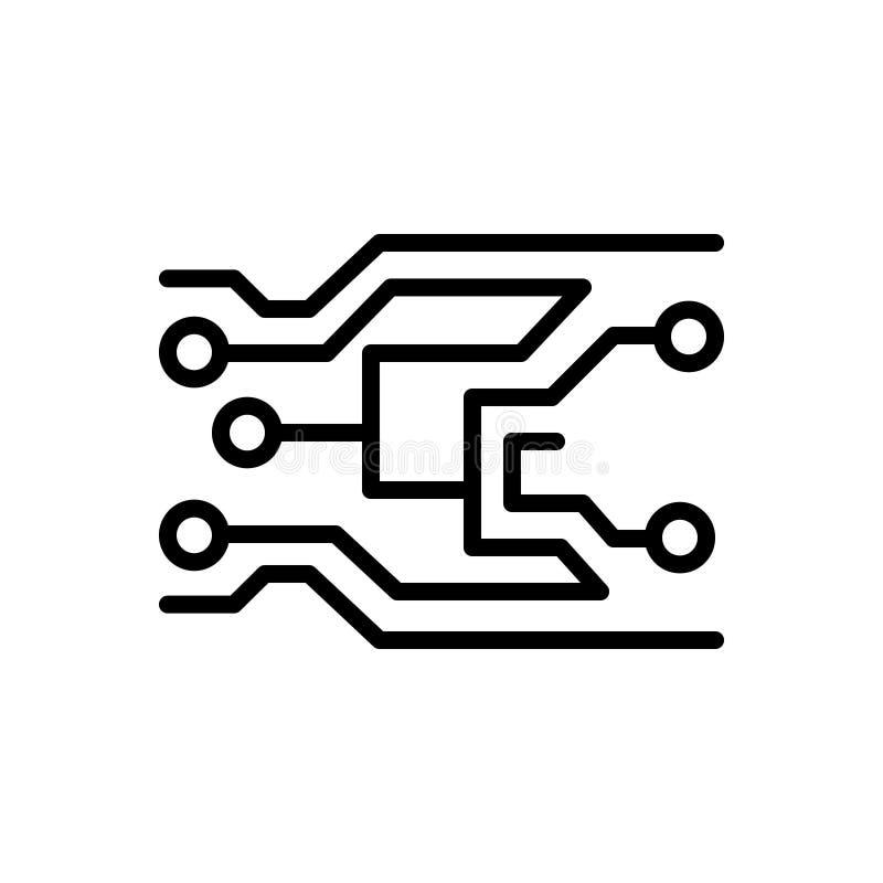 Czarna kreskowa ikona dla elektroniki, technologii i płyty głównej, ilustracji