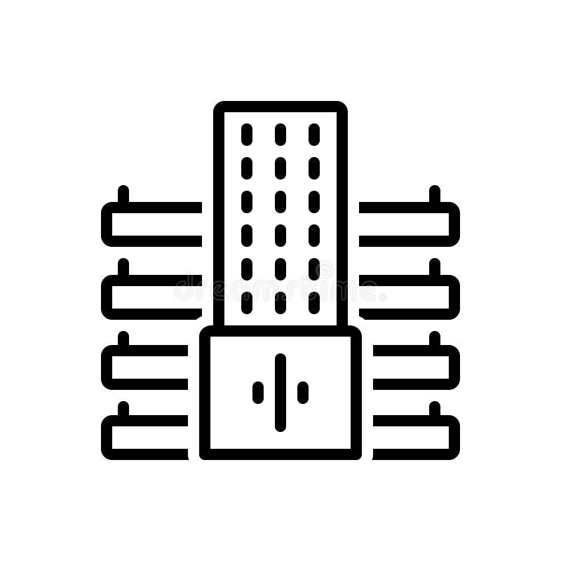Czarna kreskowa ikona dla firmy, mieszkania i architektury, ilustracji