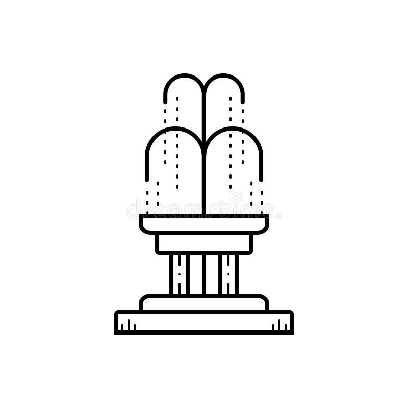 Czarna kreskowa ikona dla fontanny, parka i siklawy, royalty ilustracja