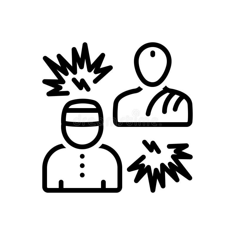Czarna kreskowa ikona dla fundamentalistów, religijny i dewocyjny royalty ilustracja