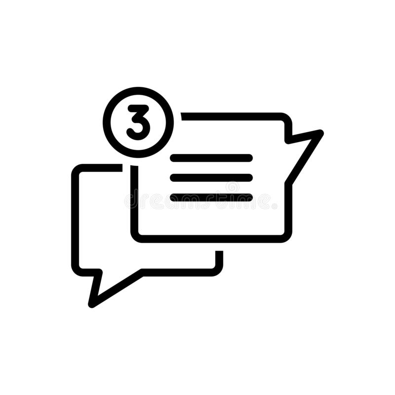 Czarna kreskowa ikona dla gadki, trajkotania i rozmowy, royalty ilustracja