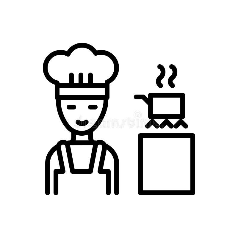 Czarna kreskowa ikona dla Gotować, fartucha i szefa kuchni, royalty ilustracja