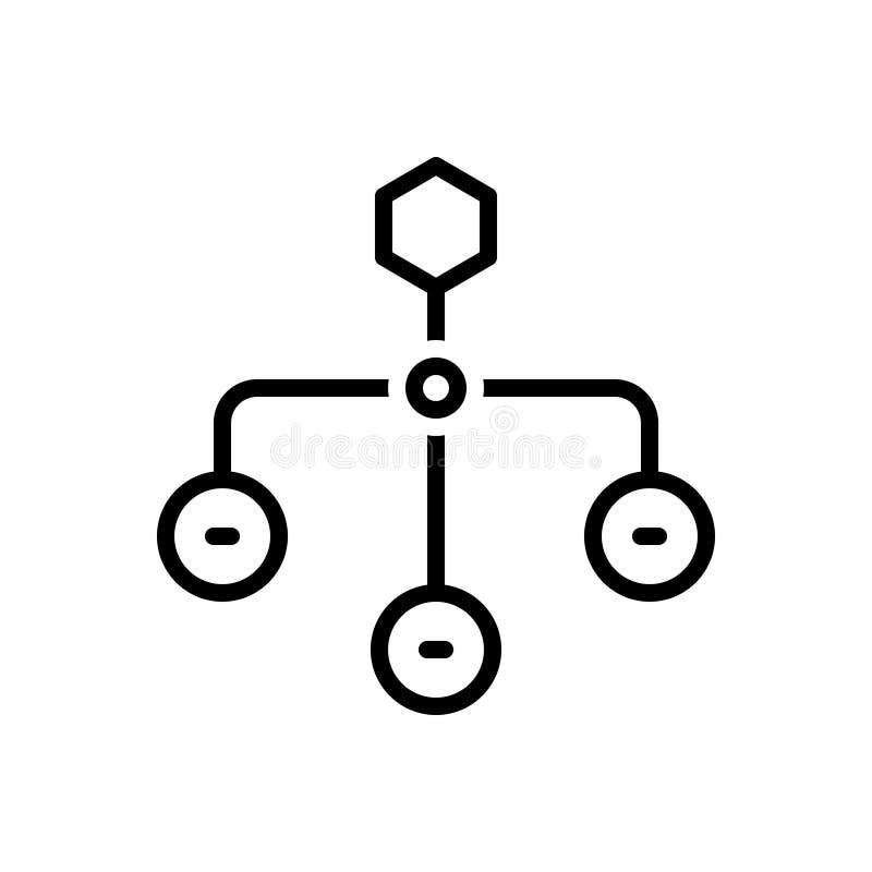 Czarna kreskowa ikona dla Hierarchical struktury, sitemap i układu, royalty ilustracja