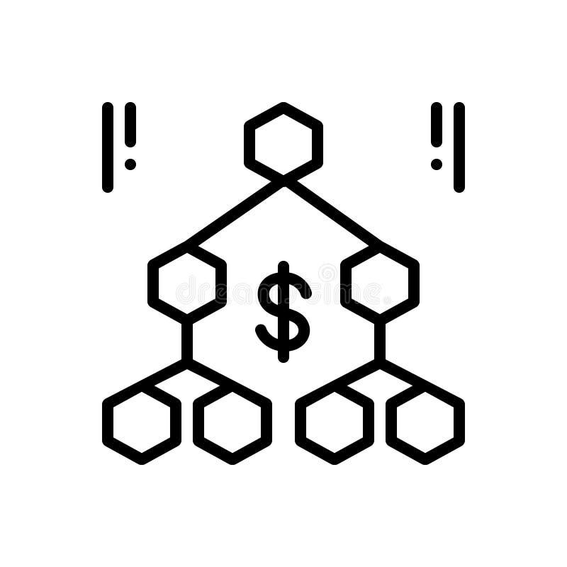 Czarna kreskowa ikona dla hierarchii, sekwencji i organisation, ilustracja wektor