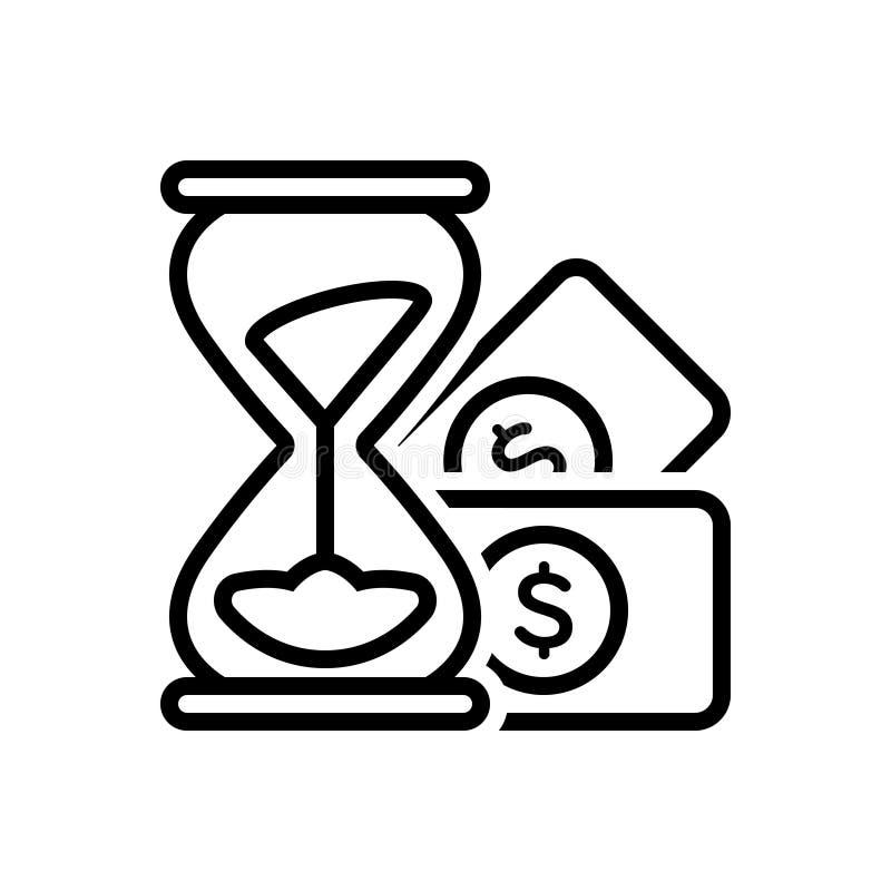 Czarna kreskowa ikona dla, hourglass, piasek, i osiągamy ilustracji