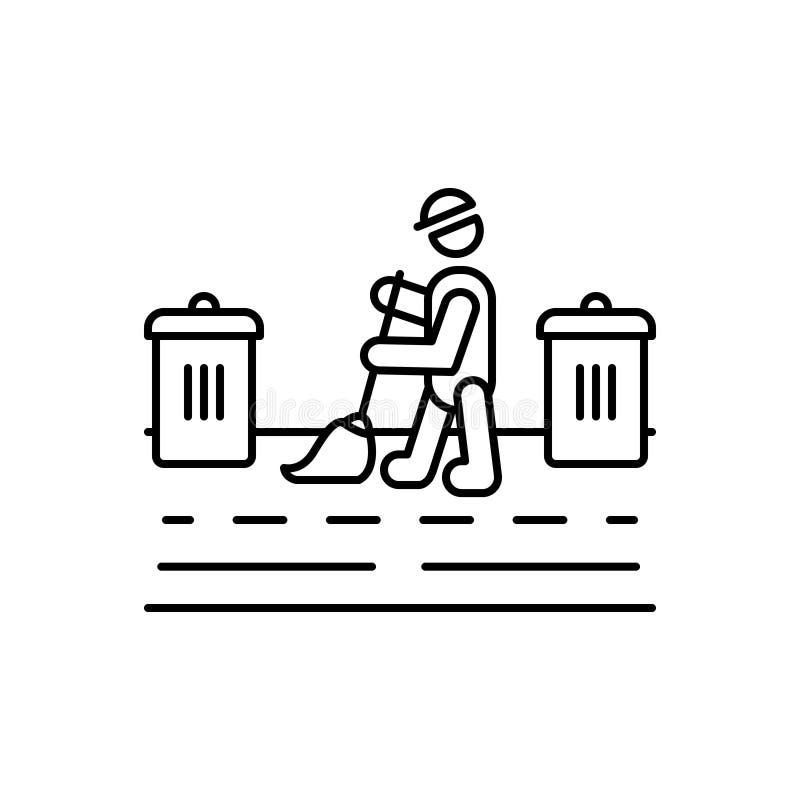 Czarna kreskowa ikona dla Housekeeping, czyści i miejsce pracy ilustracji