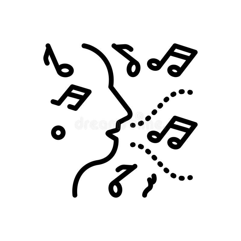Czarna kreskowa ikona dla improwizacji, muzyki i głosu, ilustracja wektor