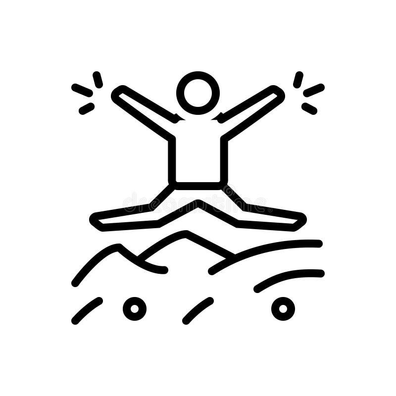 Czarna kreskowa ikona dla Impulsywnego, pośpiesznego i błyskawicznego, ilustracja wektor