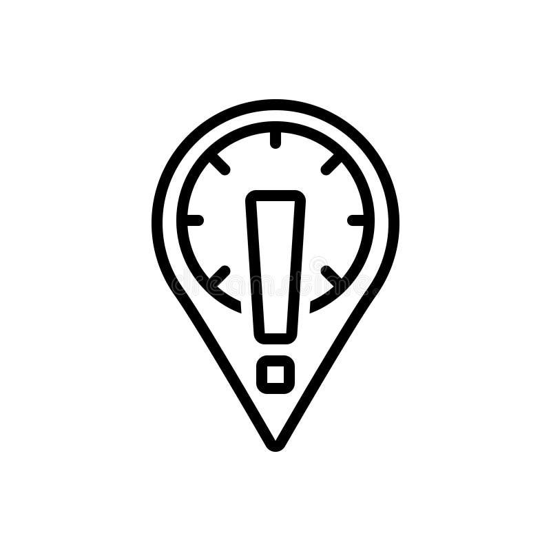 Czarna kreskowa ikona dla informacji, Placeholder Z okrzykiem i znak, royalty ilustracja