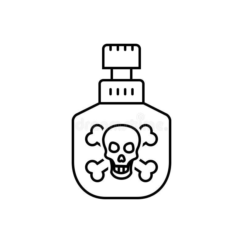 Czarna kreskowa ikona dla jadu, substancji toksycznej i jadu, royalty ilustracja