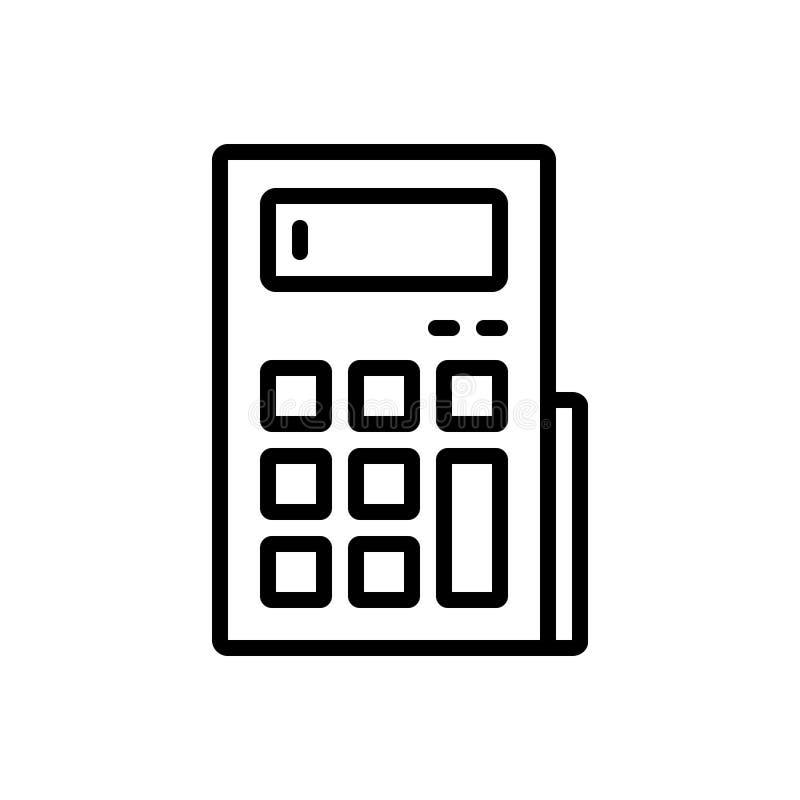 Czarna kreskowa ikona dla kalkulatora, księgowości i obliczenia, ilustracja wektor