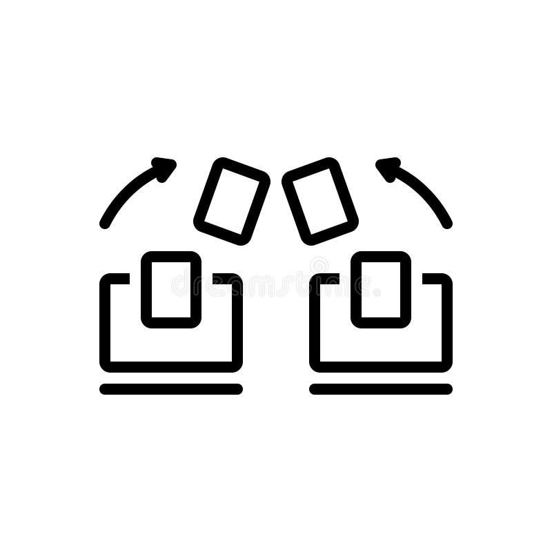 Czarna kreskowa ikona dla kartotek Wymienia, zmienia i przenosi, ilustracja wektor