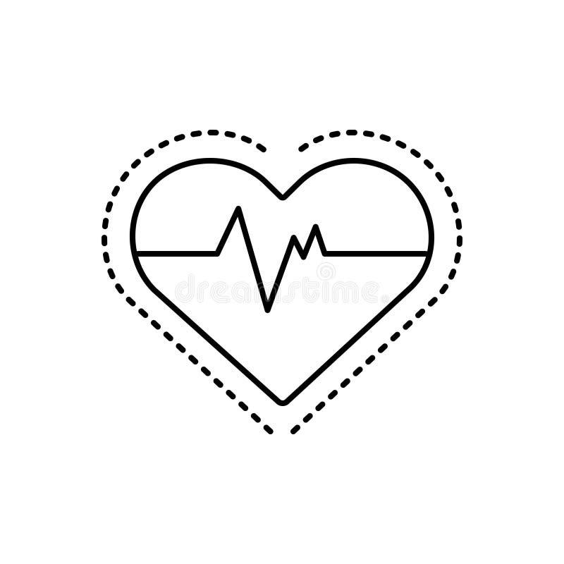 Czarna kreskowa ikona dla Kierowego pulsu, sercowy i medyczny ilustracja wektor