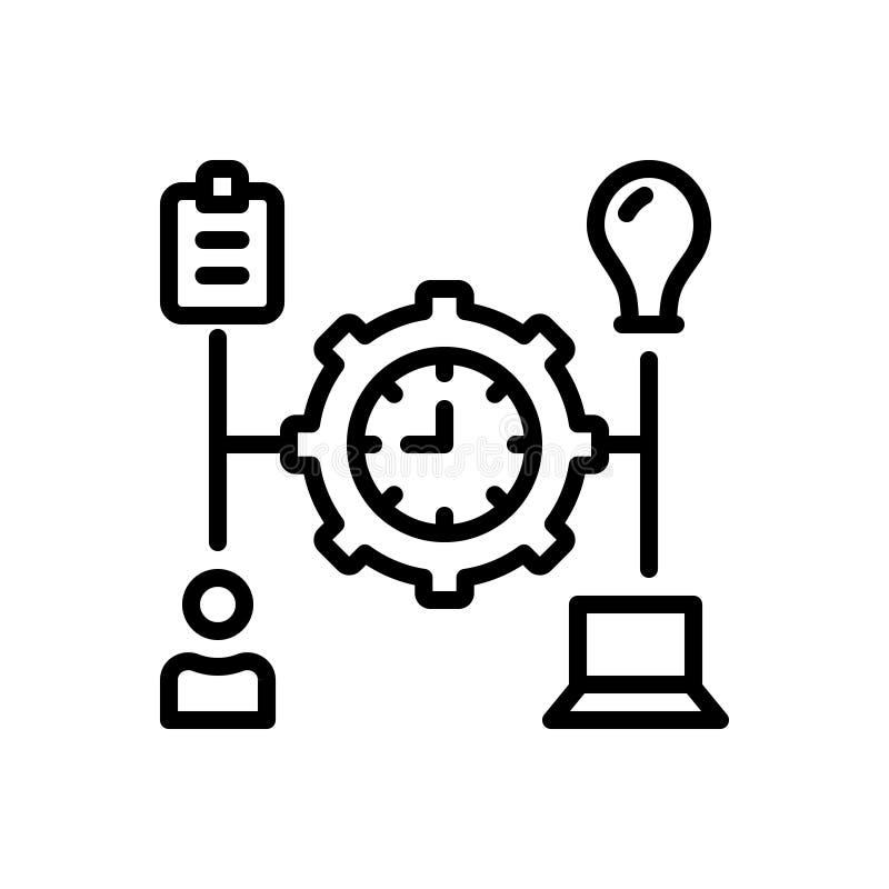 Czarna kreskowa ikona dla Kieruję, transact i działa royalty ilustracja