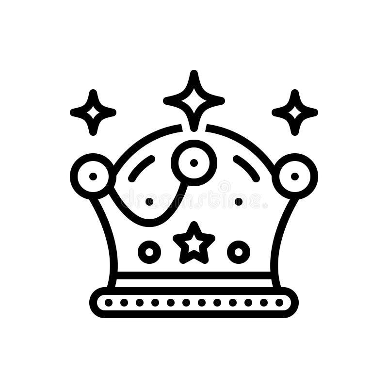 Czarna kreskowa ikona dla korony, diademu i antyków, ilustracja wektor