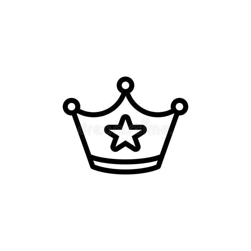 Czarna kreskowa ikona dla korony, diademu i biżuterii, ilustracja wektor