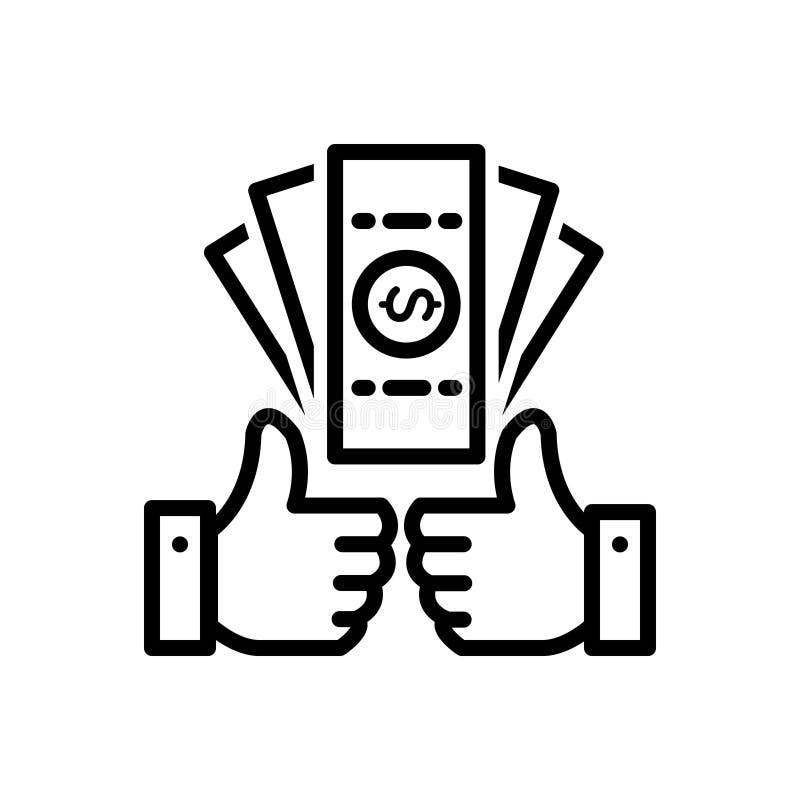 Czarna kreskowa ikona dla korzyści, zysku i odległości w milach, royalty ilustracja