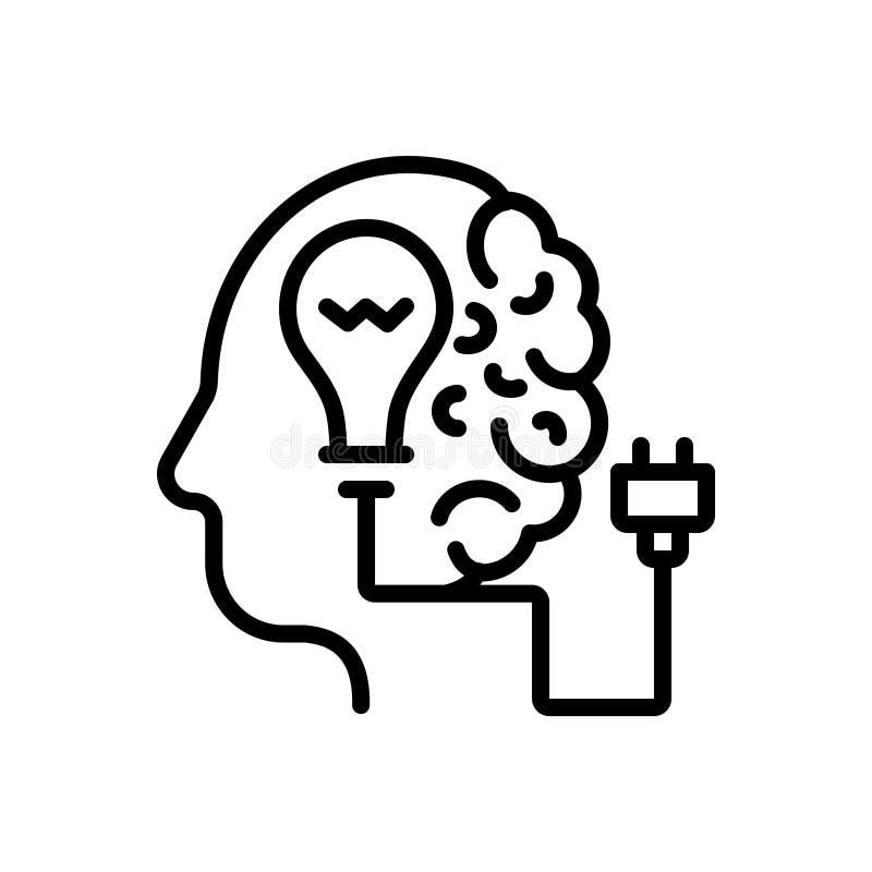 Czarna kreskowa ikona dla Kreatywnie, brainstoming i pojęcia, ilustracja wektor