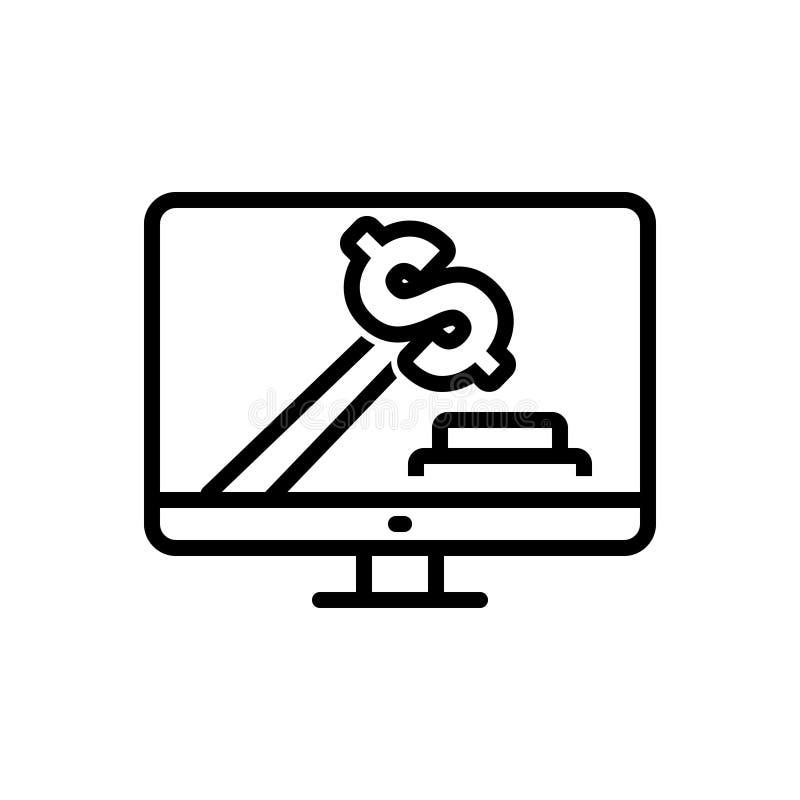 Czarna kreskowa ikona dla Licytować, oferty, i online royalty ilustracja