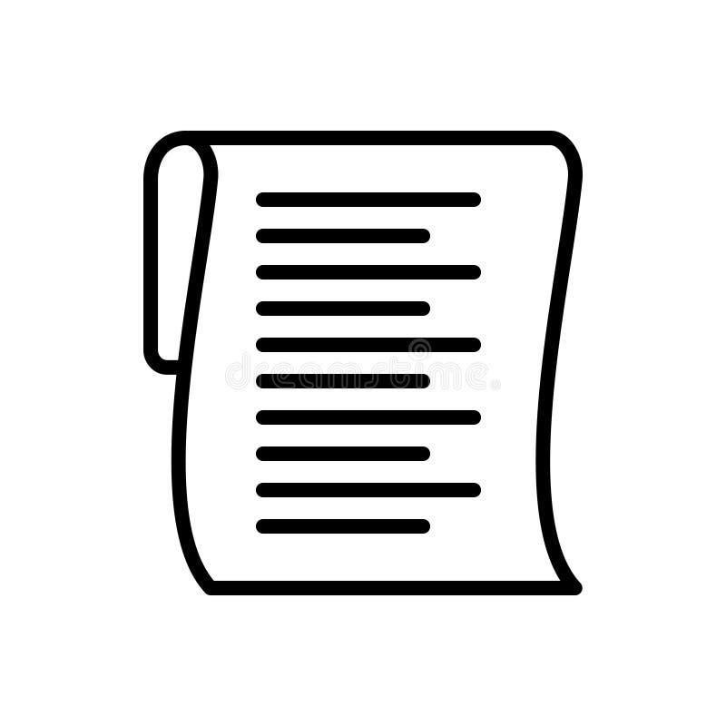 Czarna kreskowa ikona dla listy, schowka i dokumentu, ilustracji