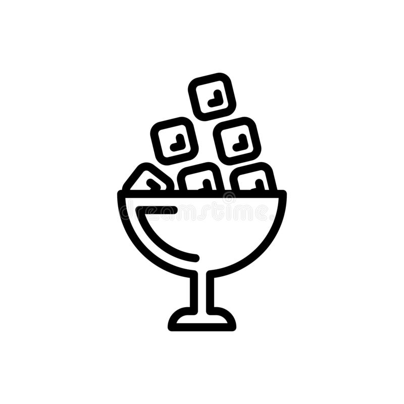 Czarna kreskowa ikona dla lodu, marznącej wody i wody, ilustracja wektor