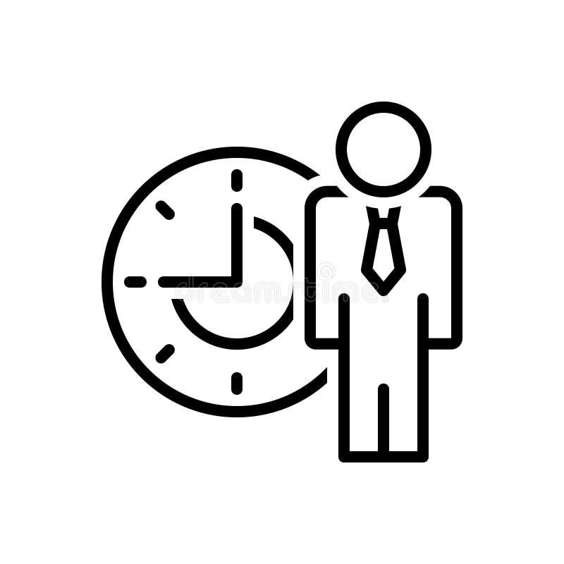 Czarna kreskowa ikona dla ludzi czasu, zarządzanie i opóźnienie, ilustracja wektor