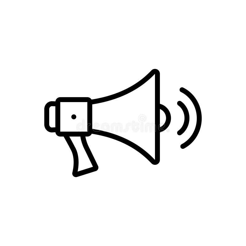 Czarna kreskowa ikona dla megafonu Z Rozsądnymi falami, megafonu i megafonu, ilustracja wektor