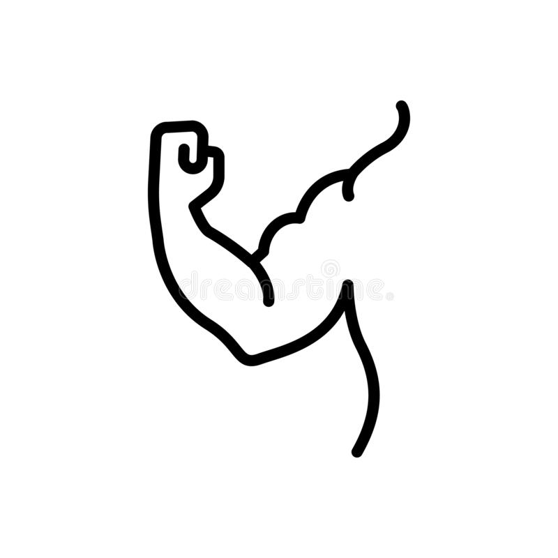 Czarna kreskowa ikona dla mięśnia, ręki i silnego, royalty ilustracja
