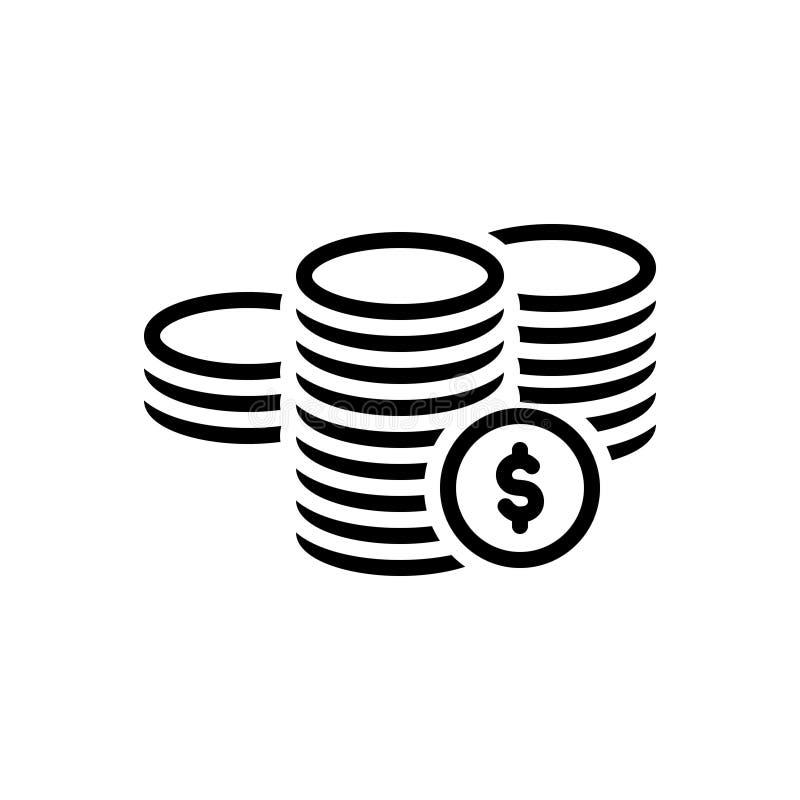 Czarna kreskowa ikona dla monet, dolarowy i legalny royalty ilustracja