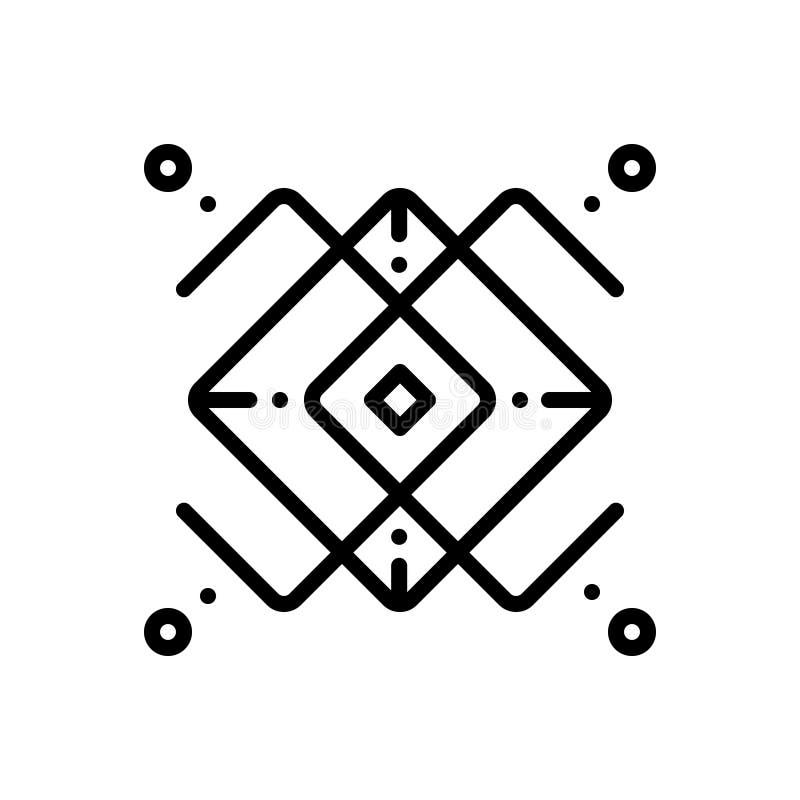 Czarna kreskowa ikona dla Monoline, logo i elementów, ilustracji