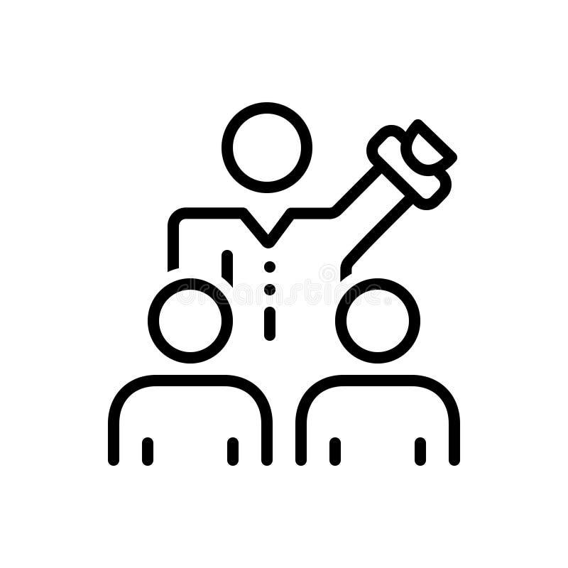 Czarna kreskowa ikona dla Namawiam, nakłania i negocjacja ilustracji
