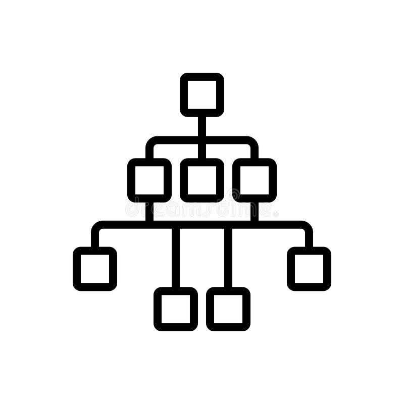Czarna kreskowa ikona dla nawigacji, pojęcia i flowchart Sitemap, ilustracji