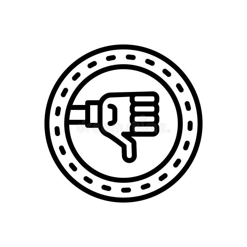 Czarna kreskowa ikona dla Nie udać się, niepowodzenia i hoodoo, ilustracja wektor