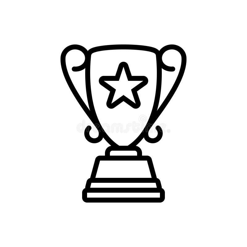 Czarna kreskowa ikona dla Odgórnej nagrody, akolady i nagrody, ilustracji