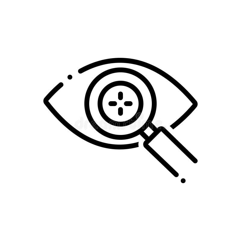 Czarna kreskowa ikona dla oka wykrywa, inteligentny i powiększać ilustracja wektor