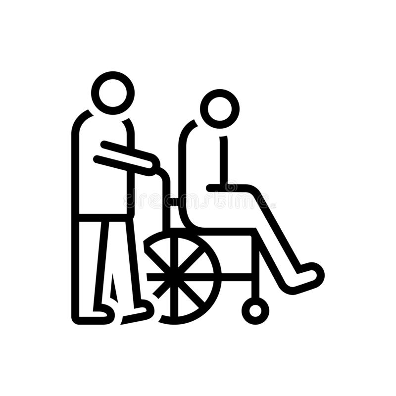 Czarna kreskowa ikona dla opiekunów, dozorcy i wózka inwalidzkiego, ilustracja wektor