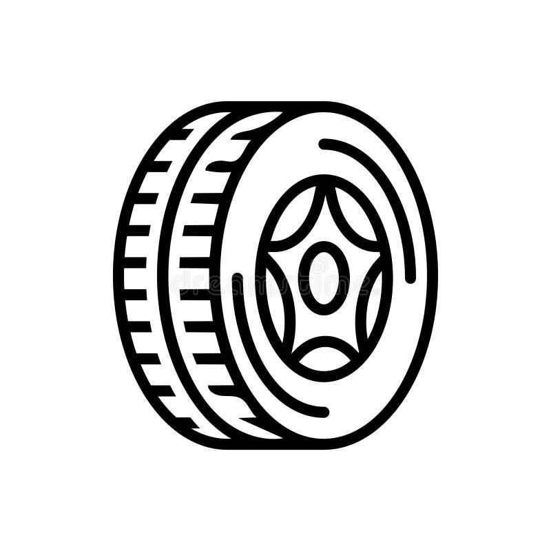 Czarna kreskowa ikona dla opony, koła i gumy, ilustracji